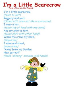 "Songs: ""I'm a Little Scarecrow"" Song with motions/movement. to the tune of ""I'm a Little Teapot"" Kindergarten Songs, Preschool Music, Fall Preschool, Preschool Classroom, Preschool Activities, Halloween Songs Preschool, Halloween Songs For Toddlers, Preschool Thanksgiving Songs, Lesson Plans For Preschool"
