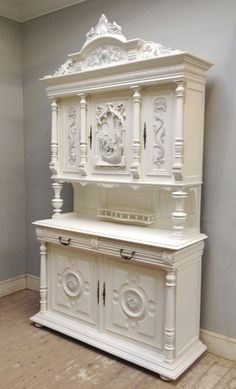 antique carved french sideboard with venice style scene