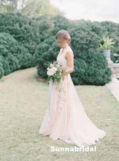 LOVE THIS DRESS Blush cap sleeves Aline princess lace wedding dress by Sunnabridal, $389.00