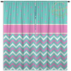 Blue and Pink Curtains - Chevron & Polka Dots - Pink and Blue Curtain - Kids…