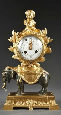 Gilt and Patinated Bronze Napoléon III Pendulum With Elephant Old Clocks, Antique Clocks, Vintage Clocks, Louis Xvi, French Clock, Wall Clock Wooden, Classic Clocks, Retro Clock, Chinoiserie
