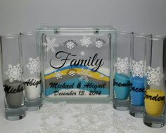 Unity Sand Set for Blended Family - Personalized - Custom Winter Wedding Decor - Unity Candle Alternative - Snowflakes Winter Wedding Theme