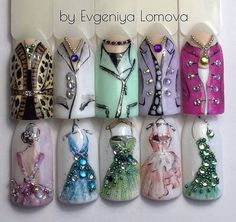 by Evgeniya Lomova Nail Art Diy, Easy Nail Art, Diy Nails, Beautiful Nail Designs, Beautiful Nail Art, Fancy Nails, Pretty Nails, Art Deco Nails, Vintage Nails