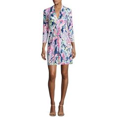 Lilly Pulitzer Margate Painterly A-Line Dress ($178) ❤ liked on Polyvore featuring dresses, apparel & accessories, pintuck dress, lilly pulitzer, lilly pulitzer dresses, v neck dress and white v neck dress