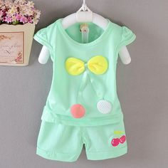 $5.90 (Buy here: http://appdeal.ru/67j8 ) C31 2016 new arrival lovely summer girls clothes set bowknot cherry pink white green peach casual suit clothing for just $5.90