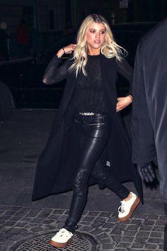 Sofia Richie attends the FENTY x PUMA Fall 2016 by Rihanna fashion show #leatherpants