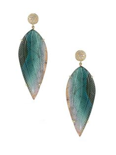 DANA REBECCA - Courtney Lauren Diamond Disc & Tourmaline Leaf Drop Earrings
