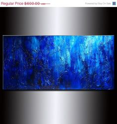 Original Thick Texture Blue Abstract Painting by newwaveartgallery, $329.00