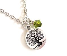 Tree of Life Necklace Earthy Yoga Jewelry Olive Green Unique Birthday Valentines Mothers Day Gift For Her or Him Under 20 Item T78