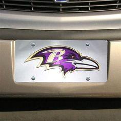 Baltimore Ravens Metal Frame Acrylic Inlaid Mirror License Plate Frame