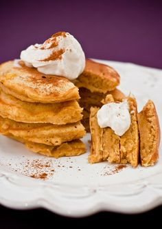 Pumpkin Pancakes with Whipped Pumpkin Toffee Butter (Panera Toffee Cream Cheese, Soft Butter, Pumpkin, Whipped Cream, Pumpkin Pie Spice) [Made Sunday, December 7, 2014]