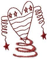 Spiral American Heart Redwork - 4x4 | Primitive | Machine Embroidery Designs | SWAKembroidery.com HeartStrings Embroidery