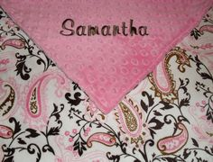 Pink & Brown Paisley Minky Blanket  $42 Personalized at www.babybeulah.etsy.com