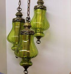 Vintage 3 Triple Globe Swag Light Lamp Moss Green. $150.00, via Etsy.