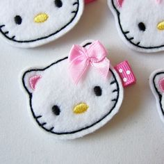 White Felt Kitty Pink Bow Hair Clip - Super cute kitty cat felt clippies - Cute for Valentine's Day. $3.50, via Etsy.