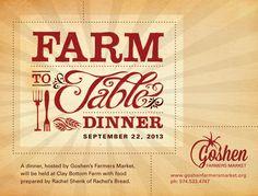 Farm to Table Dinner 5pm, September 22 Millrace Farmers Market 212 W. Washington St.