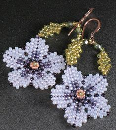 More Than Somewhat: Classes Archive October 2010 - January 2012 Seed Bead Patterns, Beading Patterns, Flower Patterns, Seed Bead Earrings, Seed Bead Flowers, Beaded Flowers, Beaded Crafts, Beads And Wire, Bead Earrings