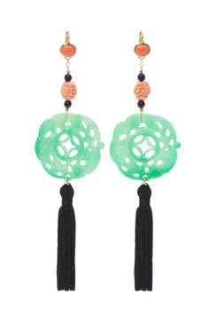 Kenneth Jay Lane Carved Jade Tassel Earrings at Moda Operandi