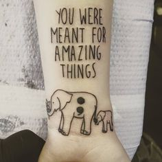 """Done by AJ James at Euphoria Tattoo & Piercing in Waynesville, NC. A quote from Jamie Tworkowski's book """"If You Feel Too Much"""", elephants and a semicolon for mental health awareness. These words..."""