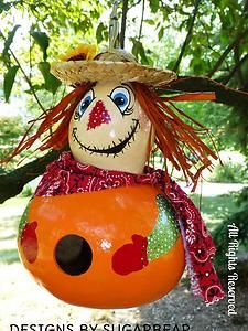 Scarecrow Birdhouse Gourd - available Designs by Sugarbear on Ebay or Etsy