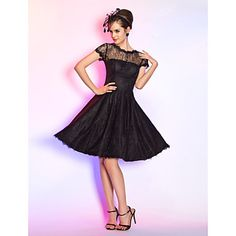 Cocktail Party / Homecoming / Prom Dress - Black Plus Sizes / Petite A-line Jewel Knee-length Lace – USD $ 76.49