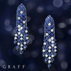 Nature's geometry: This exquisite pair of sapphire and diamond Snowfall earrings are a fine example of true precision and elegance. Sapphire Jewelry, Sapphire Earrings, Sterling Silver Dangle Earrings, Women's Earrings, Graff Jewelry, Jewelry Gifts, Jewelery, Fine Jewelry, Ear Jewelry