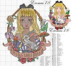 Picture only - Tim Shumate Disney Princess design - cross stitch pattern - Alice in Wonderland
