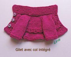 Liris_Gilet avec col-4 Habit Barbie, How Do You Knit, Purple Braids, Dou Dou, Knit Baby Dress, Baby Vest, Handmade Dresses, Easy Knitting, Baby Knitting Patterns