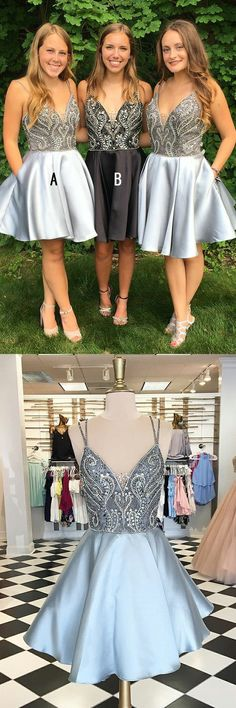 simple a-line beaded homecoming party dresses, chic short v-neck fashion prom dresses, modest semi formal dresses for dance party. vestidos.
