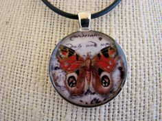 Resin Pendant Butterfly Red Yellow Black by BytheGulfCreations, $17.00