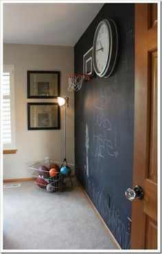 I want to do a play room in our next house just like this or with dry erase board, and a wall to wall rug that can be taken up when we redecorate. - Love Home Decor Chalk Wall, Chalk Board, Chalkboard Walls, Large Chalkboard, Chalk Paint, Toy Rooms, Kids Rooms, Room Boys, Kid Spaces