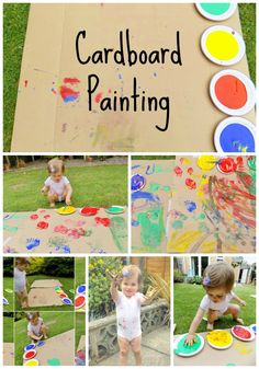 Cardboard Painting. Really easy craft to keep toddlers/kids entertained. Foot prints and hand prints. Simple messy play idea!