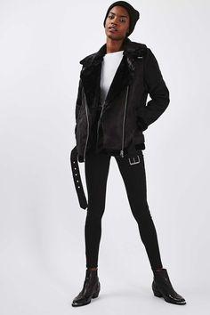 Faux Shearling Biker Jacket - Jackets & Coats - Clothing - Topshop