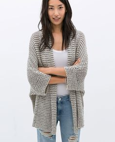 Image 2 of WRAP AROUND CARDIGAN WITH RIBBON from Zara