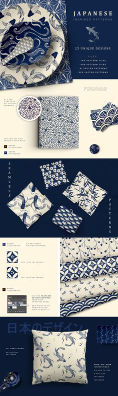 Hand Drawn Japanese Patterns • Available here → https://creativemarket.com/irenedemetri/2465467-Hand-Drawn-Japanese-Patterns?u=pxcr