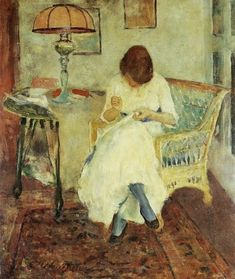 *Charles Webster Hawthorne (American Painter, 1872-1930) Girl Sewing 1923*