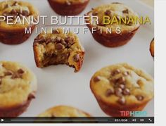 Tip Hero - Peanut Butter Banana Mini Muffins Healthy Baking, Healthy Treats, Healthy Desserts, Just Desserts, Fruit Recipes, Real Food Recipes, Dessert Recipes, Cooking Recipes, Deserts