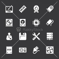 Computer Hardware Icons Set 2 - White Series | EPS10