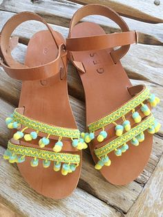 Greek leather sandals embellished with by Chatawinna on Etsy