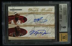 Michael Jordan LeBron James 2007 Fleer Double Scribble Dual /23 BGS 9 w/10 AUTO #ChicagoBulls
