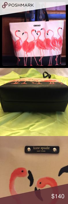 """Kate Spade """"Take a walk on the wild side """"flamingo on this item . Has two pockets on inside . 16 1/2 wide , 13 1/2 height . 19 inch handle drop . kate spade Bags Totes"""