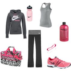 A fashion look from February 2012 featuring nike hoodie, yoga activewear and nike activewear. Browse and shop related looks. Nike Outfits, Sporty Outfits, Workout Wear, Workout Outfits, Nike Workout, Fitness Outfits, Yoga Workouts, Workout Attire, Workout Clothing
