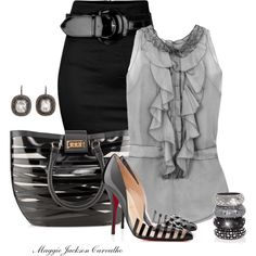 A fashion look from May 2013 featuring sleeveless shirts, Dorothy Perkins and christian louboutin shoes. Browse and shop related looks. Grey Fashion, Office Fashion, Timeless Fashion, Love Fashion, Autumn Fashion, Womens Fashion, Fashion Night, Fashion Styles, Fashion Ideas