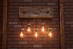 Mason Jar Fixture With Reclaimed Wood and 5 par Bornagainwoodworks