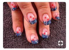 of July Nails Holiday Nail Designs, Cute Nail Designs, Seasonal Nails, Holiday Nails, Fingernail Designs, Acrylic Nail Designs, French Nails, Usa Nails, 4th Of July Nails