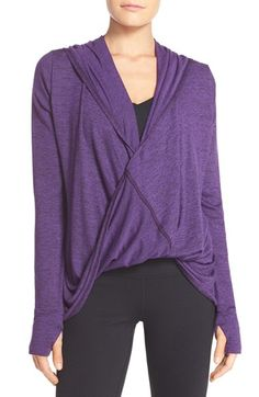 Free shipping and returns on Zella Wrap Hoodie at Nordstrom.com. Head to the gym and beyond in this cozy cardigan fitted with a drapey wrap front and comfy long sleeves with thumbholes in the cuffs that keep your hands warm.