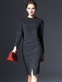 Buy Brief O-Neck Long Sleeve Woolen Two Piece Bodycon Dress with High Quality and Lovely Service at DressSure.com