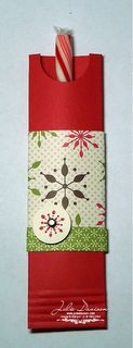 """Emery Board/Candy Cane/Pencil Holder. A quarter sheet of cardstock: 4-1/4"""" x 5-1/2"""". Scored at 1-1/2"""" and 3"""". Punch a notch in the center """"column"""" with the 3/4"""" Circle Punch. Then, use sticky strip to adhere it on the side and bottom and then crimp it for extra hold."""