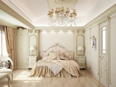 Country-style French noble interior Bedroom White headboard upholstered chandeliers