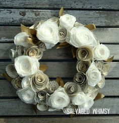 decor, craft, coffee filter wreath, paper flowers, paper coffe, diy, coffee filters, paper flower wreath, coffe filter
